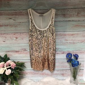 Express Gold Sequin Tank Top // NWT // XS